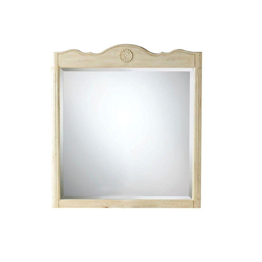 Home Decorators Collection Keys 33 in. W x 36 in. L Wall Mirror in Distressed Cream