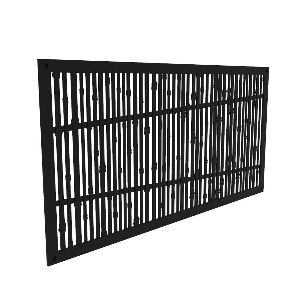 4 ft. x 2 ft. Bungalow Black Polymer Decorative Screen Panel