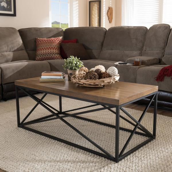 Baxton Studio Holden Medium Brown Wood Finished Coffee Table 28862-7328-HD