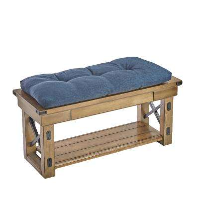 The Gripper Tufted 36 in. Omega Indigo Universal Bench Cushion