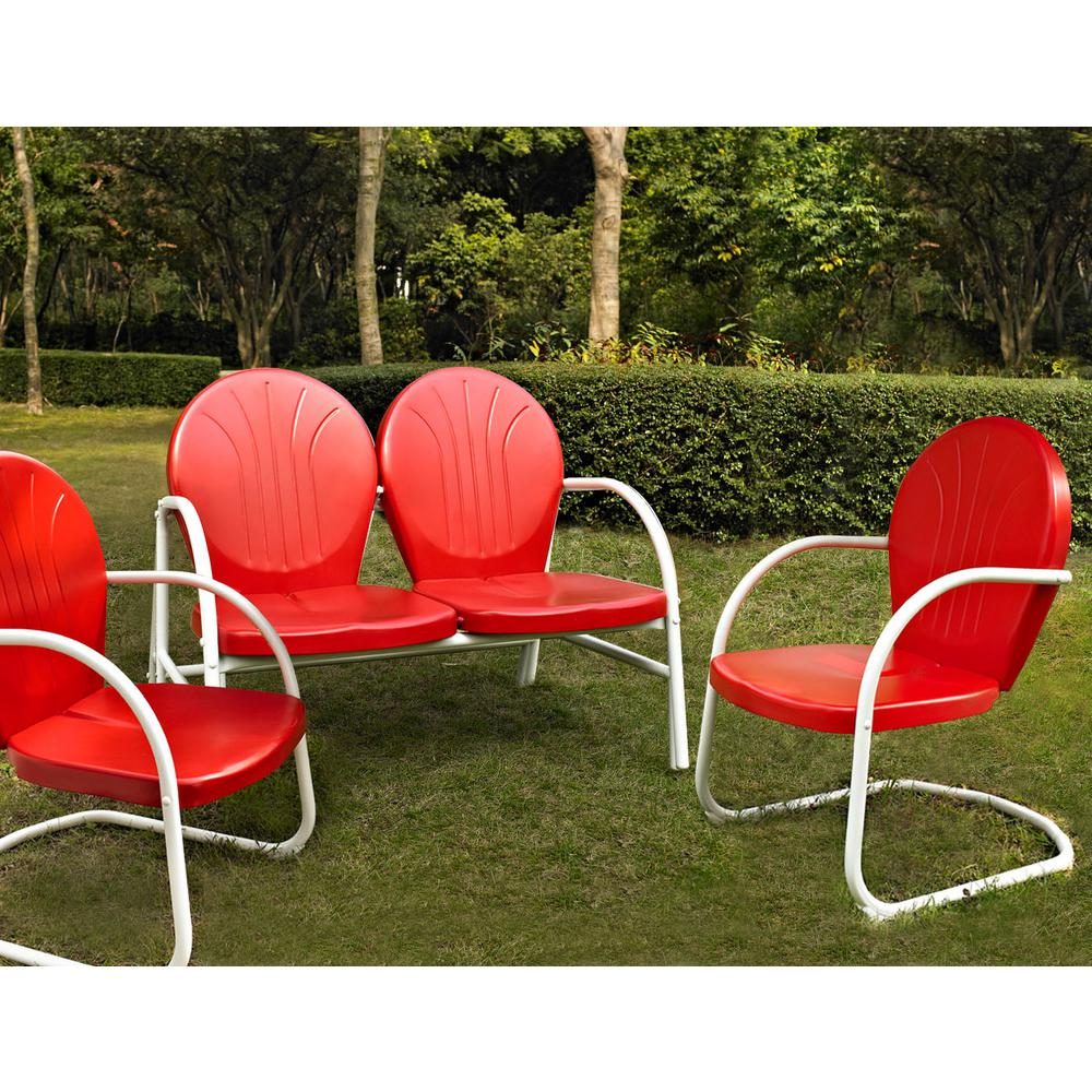 Griffith red 3 piece metal conversation seating set