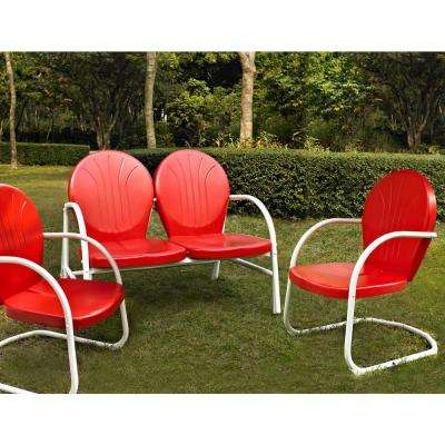Griffith Red 3-Piece Metal Conversation Seating Set