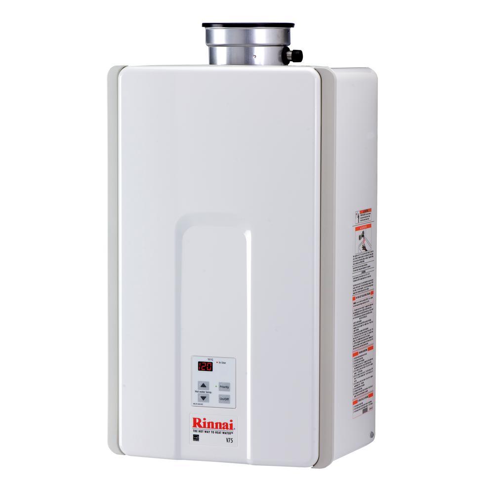Rinnai High Efficiency 7 5 Gpm Residential 180 000 Btu Natural Gas Interior Tankless Water Heater