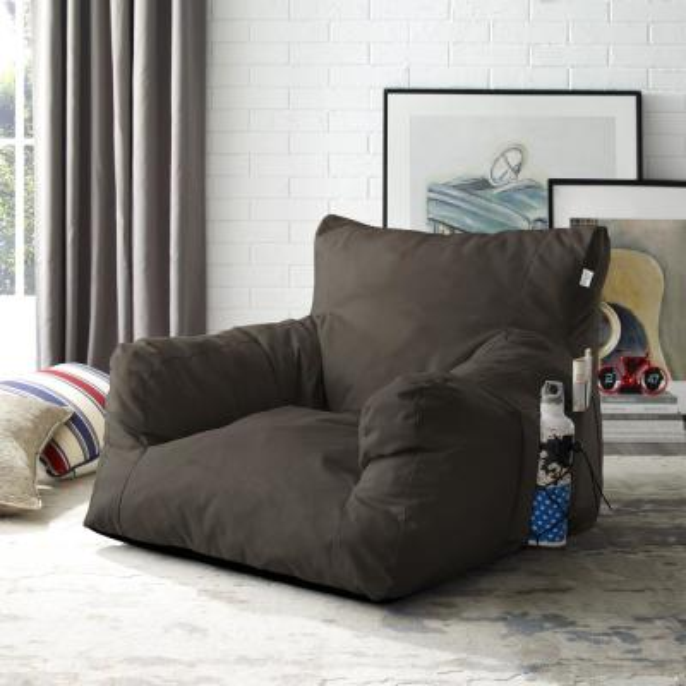 Loungie Comfy Brown Bean Bag Arm Chair Nylon Foam Lounger ...