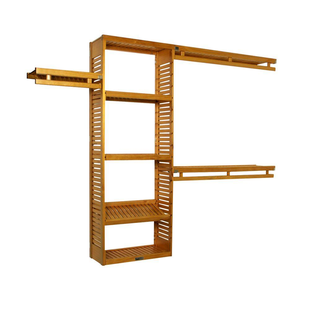 John Louis Home 12 in. D Simplicity Closet System in Honey