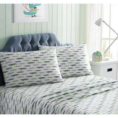 Morgan Home Kids Green Printed Microfiber Twin Sheet Set