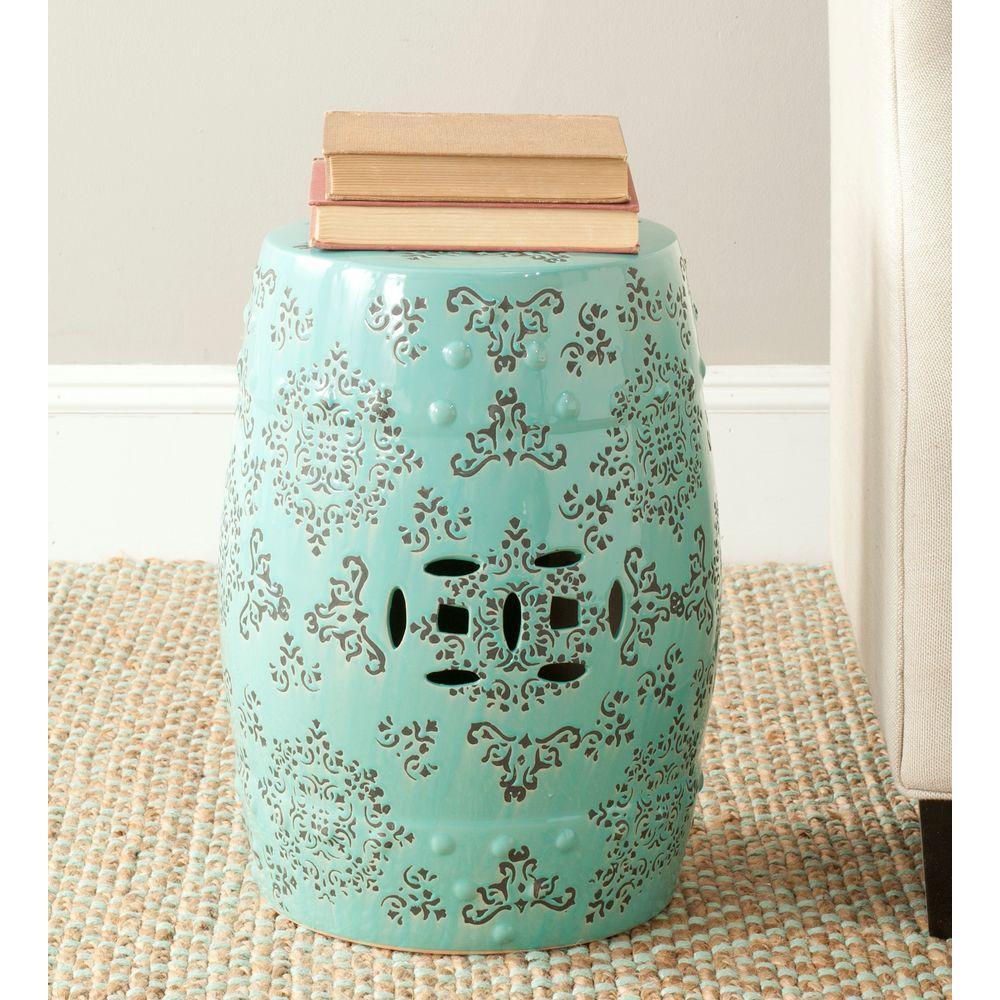 Medallion Robin's Egg Blue Ceramic Patio Stool