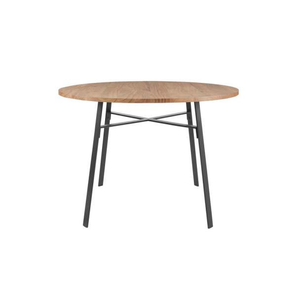 Halford Pecan Brown Finish Round Dining Table for 4 with Black Metal Base (46.3 in. L x 30 in. H)