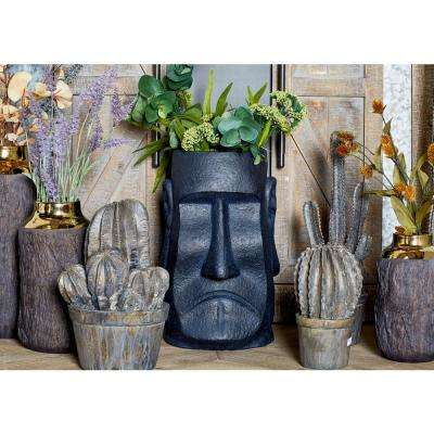 15 in. x 10 in. Black Fiber Clay Stone Face Planter