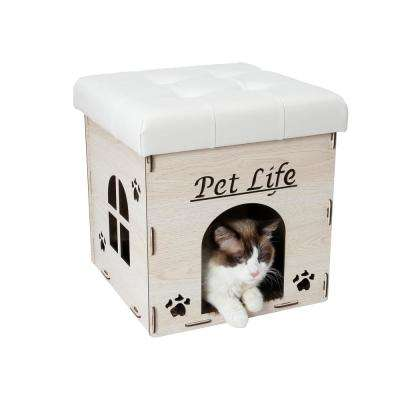 White Foldaway Collapsible Designer Cat House Furniture Bench