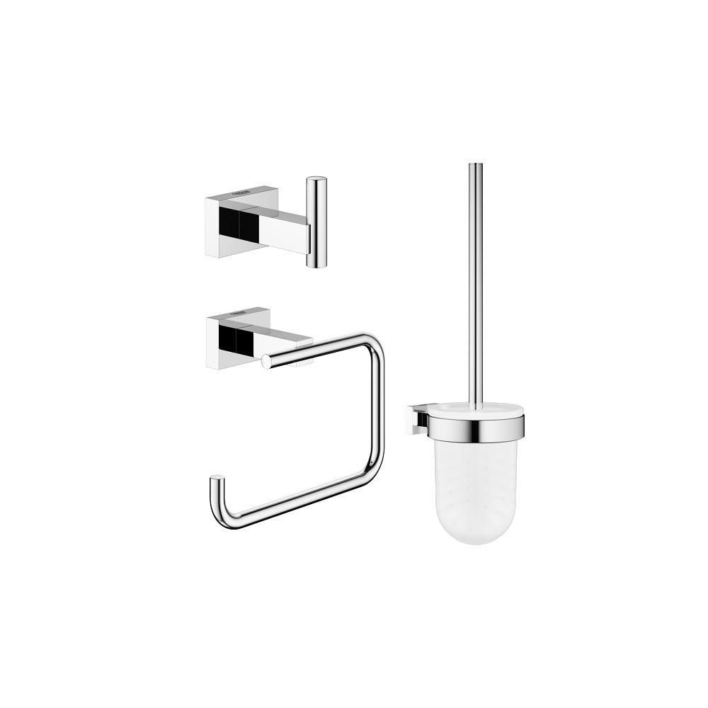 Essentials Cube Guest Bathroom 3-Piece Bath Hardware Set in StarLight Chrome