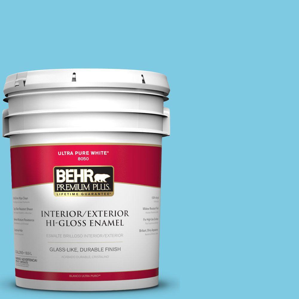 BEHR Premium Plus 5-gal. #P490-3 Big Chill Hi-Gloss Enamel Interior/Exterior Paint