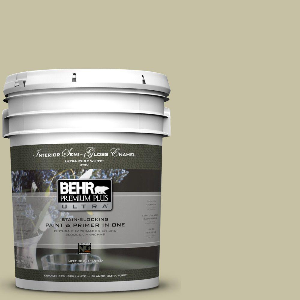 BEHR Premium Plus Ultra 5-gal. #S350-3 Washed Olive Semi-Gloss Enamel Interior Paint