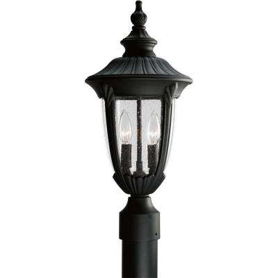 Meridian Collection 2-Light Textured Black Outdoor Post Lantern