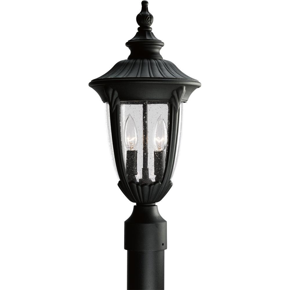 Progress Lighting Meridian Collection 2-Light Textured Black Outdoor Post Lantern