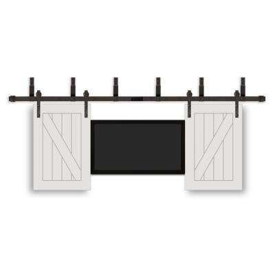 24 in. x 36 in. TV Prefinished White Wood Interior Barn Door with Oil Rubbed Bronze Hardware