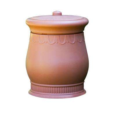 Savannah 23 in. x 23 in. x 32 in. Polyethylene Urn Waste and Storage Bin in Terra Cotta