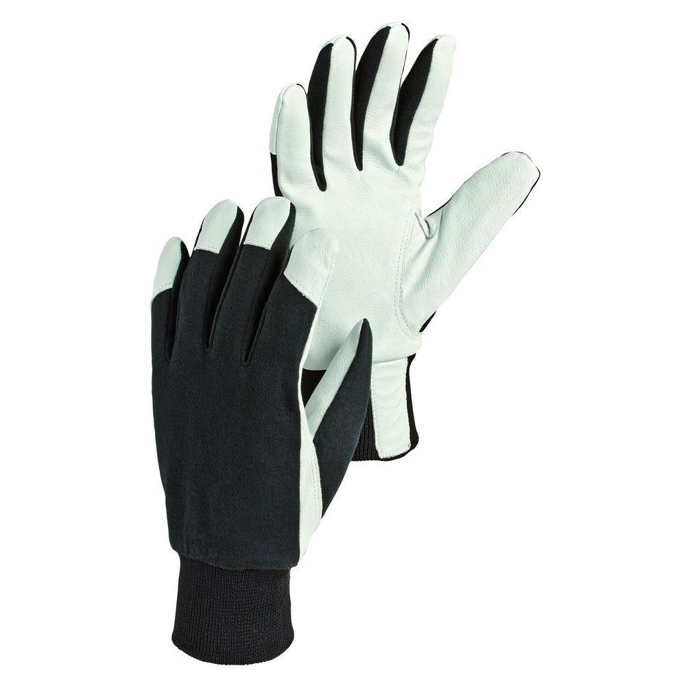 Facilis Size 8 Medium Lightweight Pigskin Leather Gloves in Black/Off White