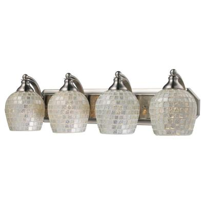 4-Light Satin Nickel Vanity Light with Silver Mosaic