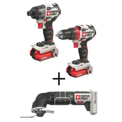 20-Volt MAX Lithium-Ion Brushless Cordless Combo Kit (2-Tool) with BONUS 20-Volt Cordless Oscillating Tool (Tool-Only)