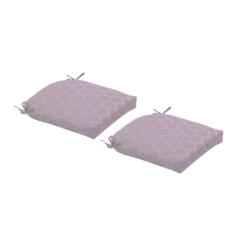 Hampton Bay Toffee Trellis Deluxe Square Outdoor Seat Cushion 2 Pack