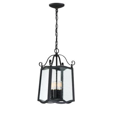 Glenwood Black 4-Light Outdoor Hanging Lantern with Clear Seedy Glass Shade