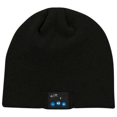 Wireless Bluetooth Knit Beanie Hat with Built-In Headphones Mic, Black