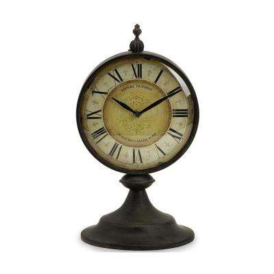 Henri 14.25 in. x 7.5 in. Round Table Clock in Black