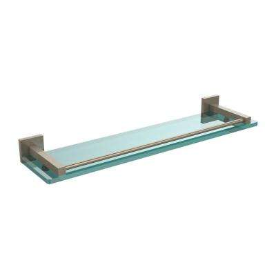 Montero 22 in. L  x 2 in. H  x 5-3/4 in. W Clear Glass Vanity Bathroom Shelf with Gallery Rail in Antique Pewter