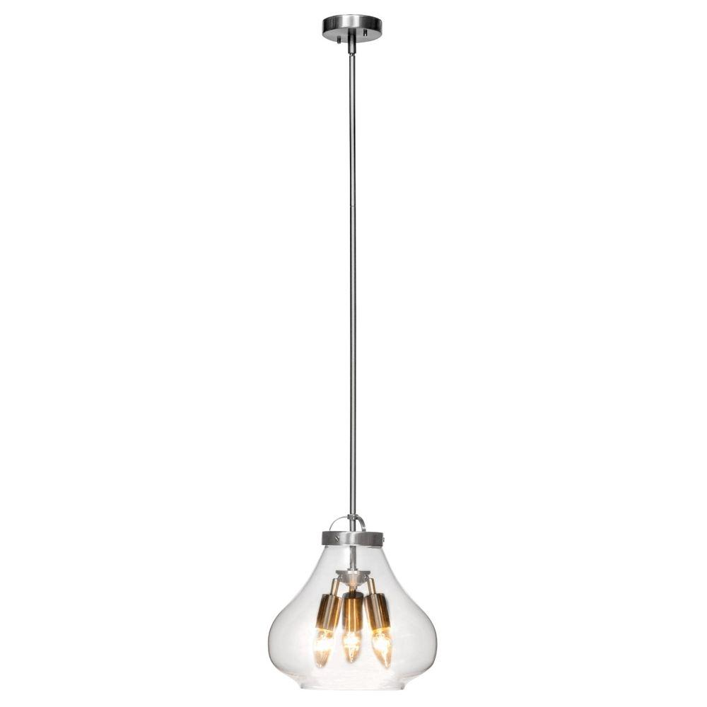 3 Light Brushed Steel Pendant With Clear Gl Shade