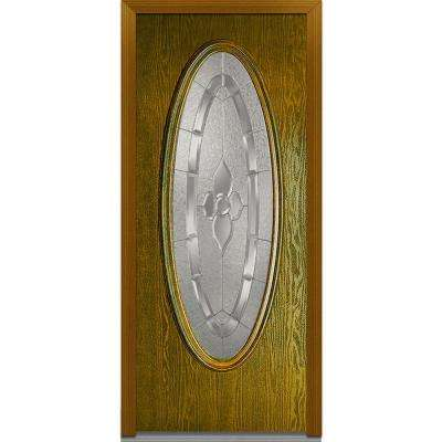 32 In. X 80 In. Master Nouveau Decorative Glass Oval Lite Finished Oak  Fiberglass