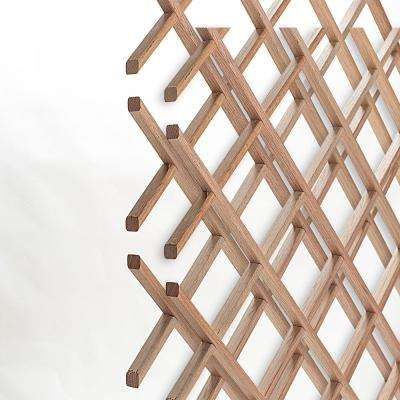 28-Bottle Trimmable Wine Rack Lattice Panel Inserts in Unfinished Solid North American Red Oak