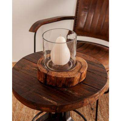 6 in. Brown Mango Wood Log Candle Holder with Clear Glass Hurricane