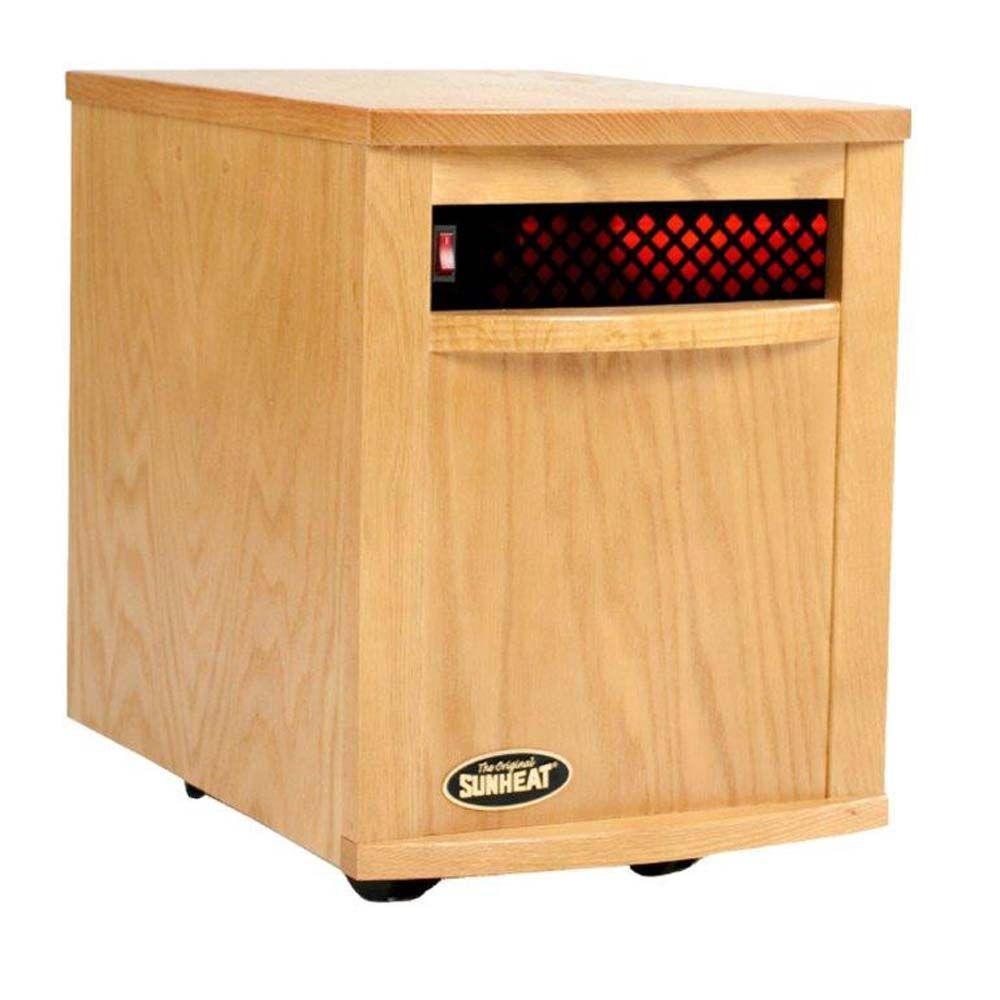 1500 Watt 6 Element Large Room Infrared Portable Heater   Golden Oak Cabinet