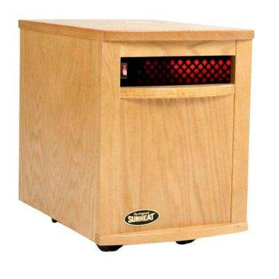 1500-Watt 6-Element Large Room Infrared Portable Heater - Golden Oak Cabinet