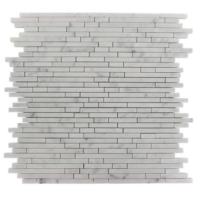 Windsor 1/4 in. x Random White Carrera Pattern Marble 12 in. x 12 in. x 8 mm Mosaic Floor and Wall Tile