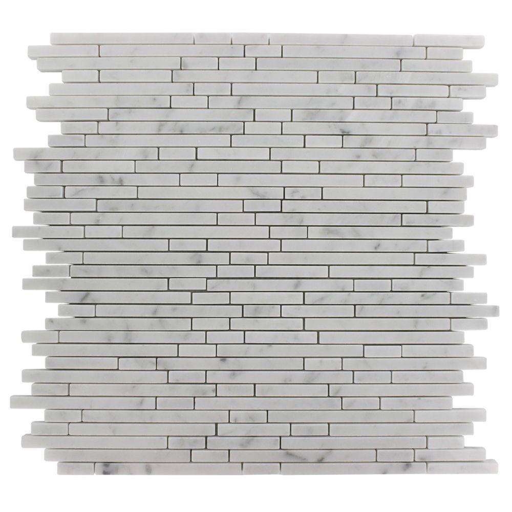 Random Kitchen Tile Patterns: Splashback Tile Windsor 1/4 In. X Random White Carrera Pattern Marble 12 In. X 12 In. X 8 Mm