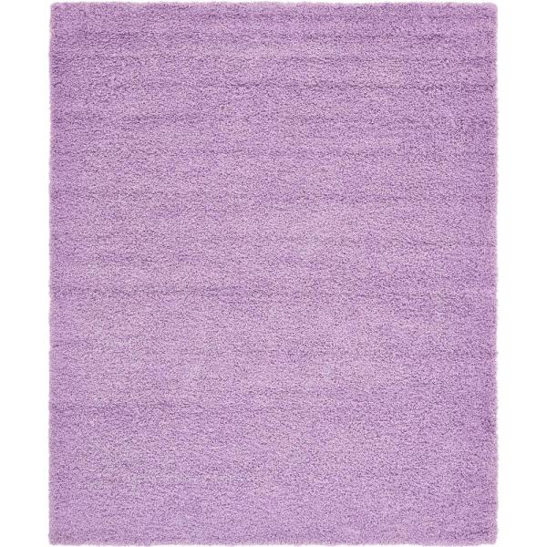 Solid Shag Lilac 8 ft. x 10 ft. Area Rug