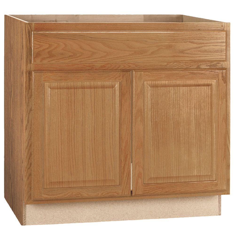 Hampton Bay Hampton Assembled 36x34.5x24 in. Sink Base Kitchen Cabinet in Medium Oak
