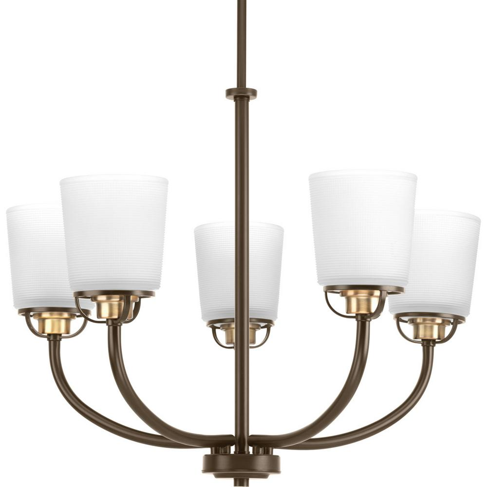 Progress Lighting West Village Collection 5-light Antique Bronze Chandelier with Etched Glass Shade