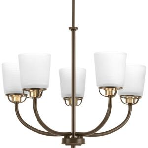 West Village Collection 5-light Antique Bronze Chandelier with Etched Glass Shade