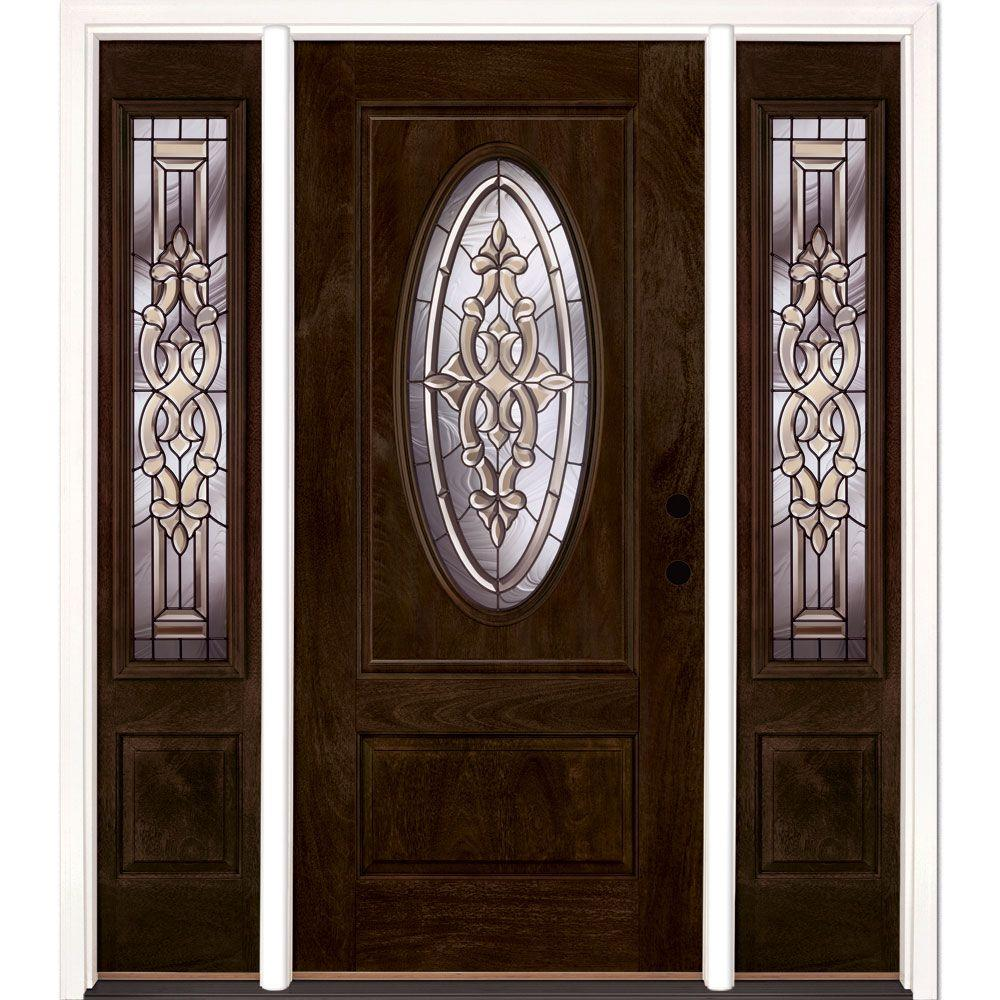 Feather River Doors 63.5 in.x81.625in.Silverdale Patina 3/4 Oval Lt Stained Chestnut Mahogany Lt-Hd Fiberglass Prehung Front Door w Sidelite
