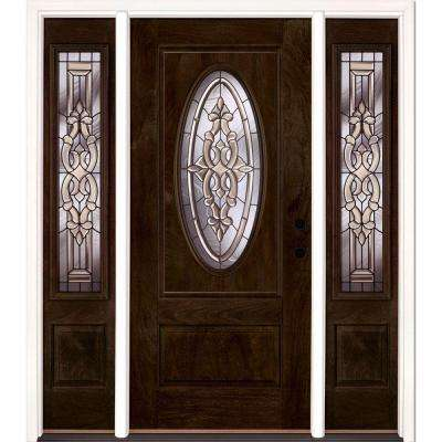 63.5 in.x81.625in.Silverdale Patina 3/4 Oval Lt Stained Chestnut Mahogany Lt-Hd Fiberglass Prehung Front Door w Sidelite