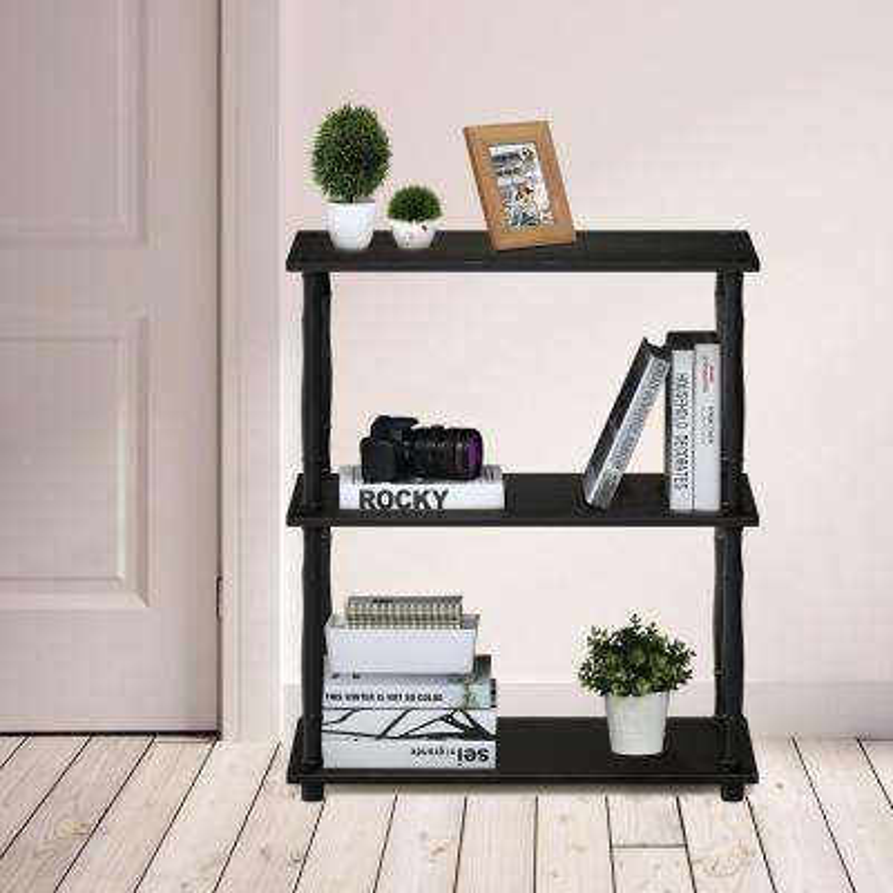 Furinno Turn-N-Tube Espresso/Black 3-Tier Compact Multipurpose Shelf Display Rack with Classic Tube