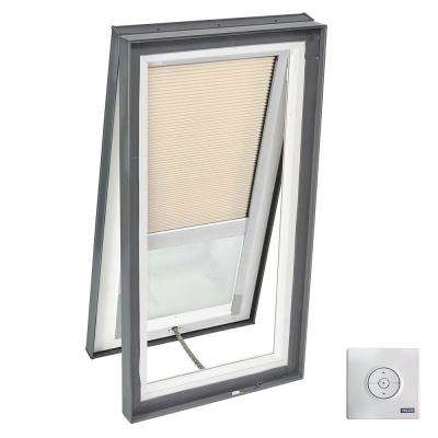 22-1/2 in. x 46-1/2 in. Solar Powered Venting Curb-Mount Skylight with Laminated Low-E3 Glass Beige Room Darkening Blind