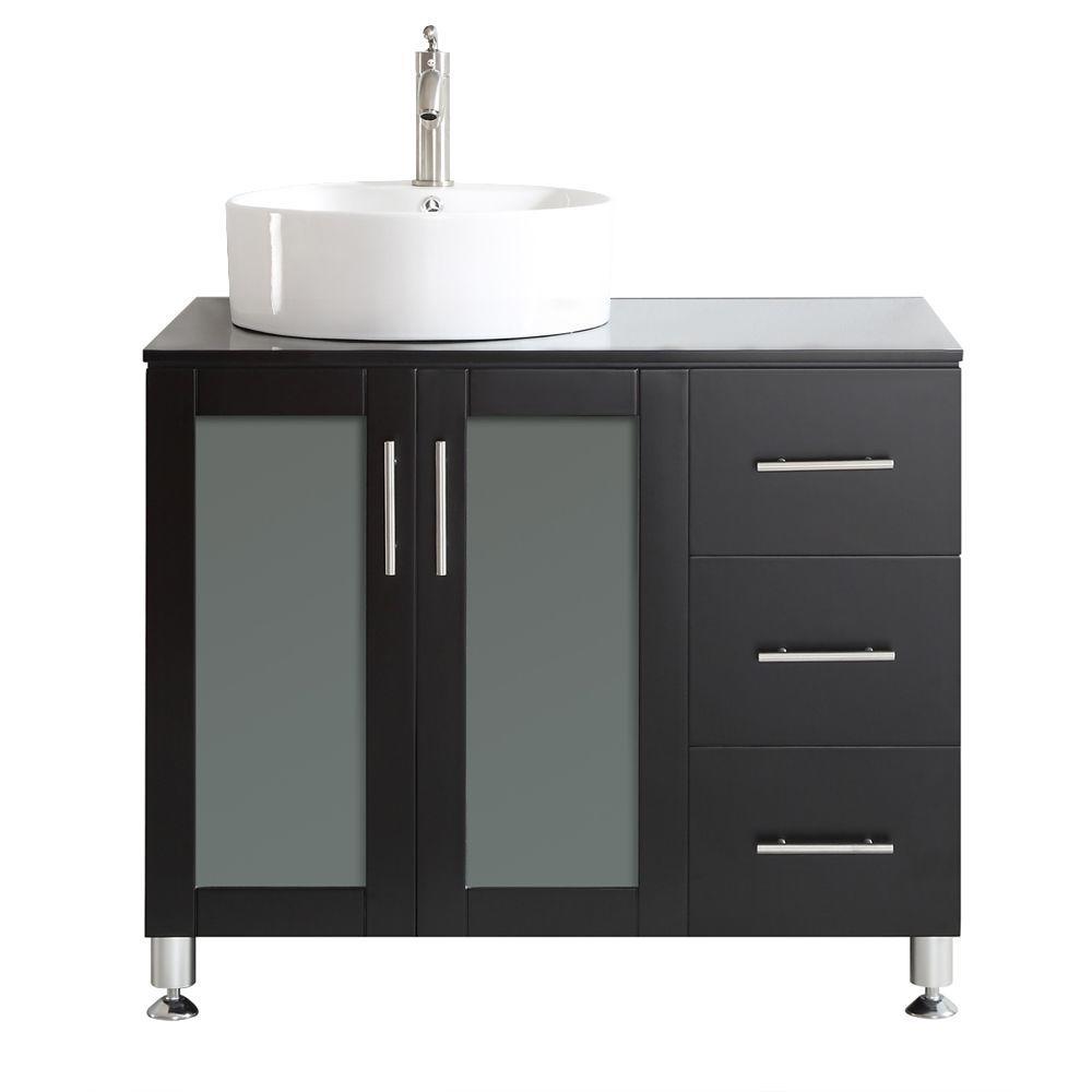 Vinnova Tuscany 36 In W X 22 In D X 30 In H Vanity In Espresso With Glass Vanity Top In Black