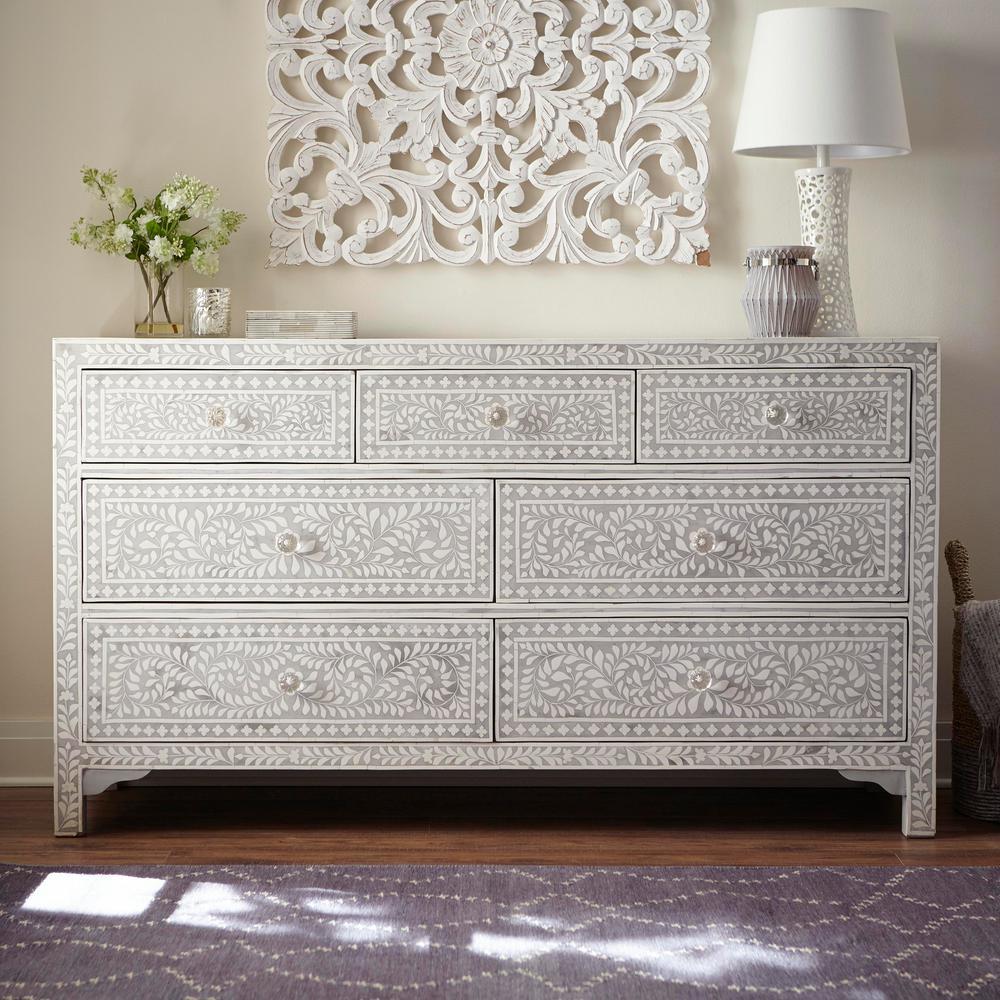 Home Decorators Collection Dhara Bone 7 Drawer Pantone Grey Dresser 9990700270 The Depot
