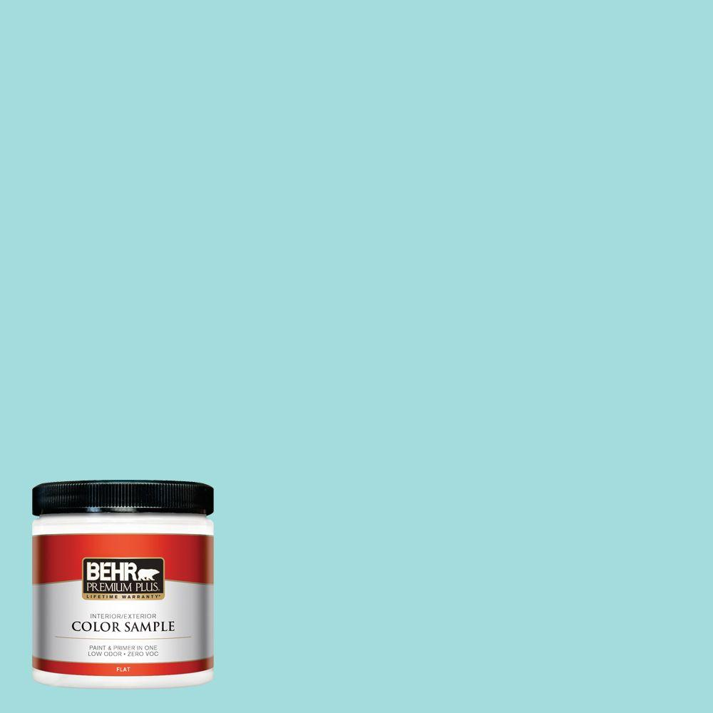 BEHR Premium Plus 8 oz. #500A-3 Aqua Spray Flat Interior/Exterior Paint and Primer in One Sample