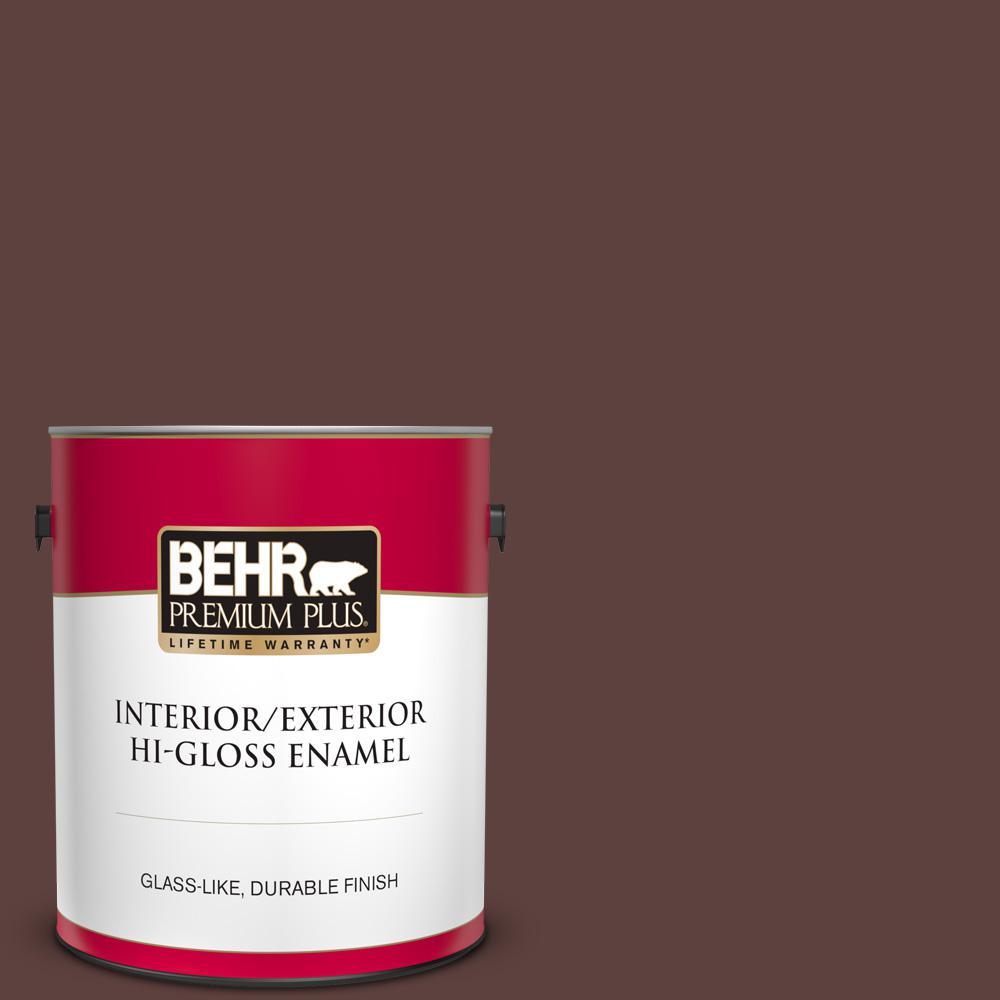 Behr Premium Plus 1 Gal 710b 7 Rich Mahogany Hi Gloss Enamel Interior Exterior Paint 830001 The Home Depot