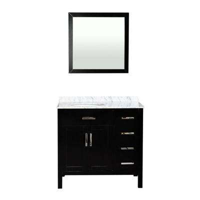 Ashland 37 in. W x 21.5 in. D Vanity in Espresso with Marble Vanity Top in White with Basin and Mirror